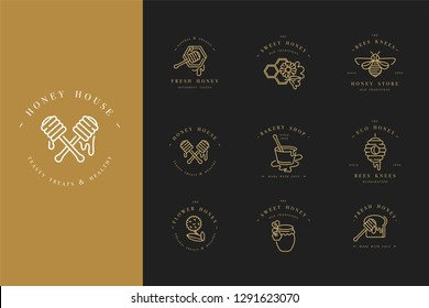 Vector set illustration logos and design templates or badges. Organic and eco honey labels and tags with bees. Linear style and golden color