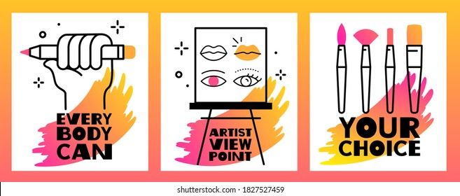 Vector set of illustration of paintbrush, artist easel and hand holding a pencil with text