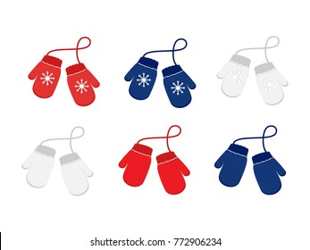 Vector set illustration pair of knitted christmas mittens on whitebackground. Mitten icon. Christmas greeting card with mittens