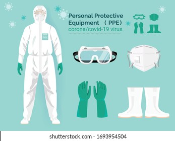 vector set illustration of personal protective equipment concept.  doctor in protective PPE suit wearing Safety White Hooded Protection Suit Anti-Chemical Wear Labface mask and eyeglasses.