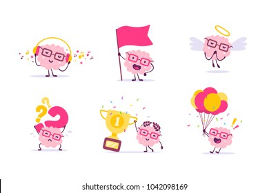 Vector set of illustration of pink color smile brain with glasses in different poses on white background. Cartoon brain concept. Doodle style. Flat style design of character brain for education theme