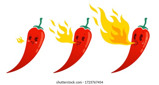 Vector set illustration of a spicy chilli peppers with flame. Cartoon red chilli pepper with flame for mexican or thai food. Cartoon different red chillies and fire. Hot chili pepper.