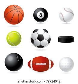 Vector set illustration of sport balls.