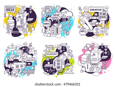 Vector set of illustration of three dimensional black and white mechanism to develop product on white with color background. 3d line art style design for business web, site, banner, poster, print