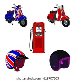 Vector set illustration of vintage scooter, gas stations and motorcycle helmet. Emblems and label. Scooter popular means of transport in a modern city. Isolated on a white background