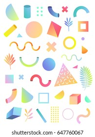 Vector set illustration. White background isolated. Color 3d geometric figures. Collection trendy design elements for your design. Innovation idea
