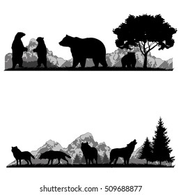 Vector set of illustration with wild animals