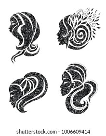 Vector set of illustration of woman with beautiful hair with grunge texture - can be used as a logo for beauty salon. Fashion. Beauty. Style logo