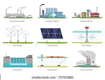 Vector set of illustrations. Alternative energy.Nuclear, hydro, biomass, tidal, solar, wind, geothermal, hydrogen and wave energy.