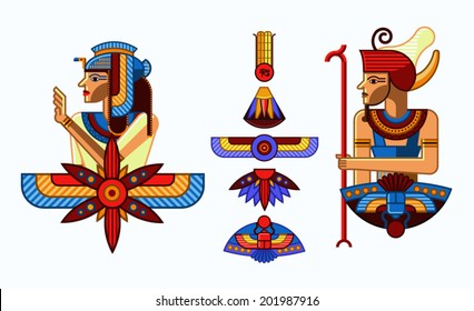 Vector set of illustrations of ancient Egypt