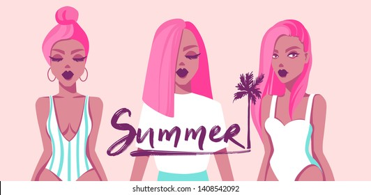 Vector set of illustrations with beautiful girls. Flat style. Fashion models. Minimalism colorful art. Young women with pink hair. Summer Girl in swimsuit. Trendy style.