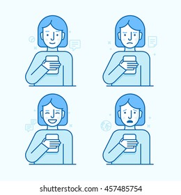 Vector set of illustrations of female character in trendy flat linear style - girl holding mobile phone with different expressions of face - smartphone addict - receiving notifications, messages