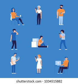 Vector set of illustrations in flat line style with different male and female characters - smartphone addicts - people looking at mobile phones and tablet pcs