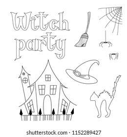 vector set illustrations halloween theme outline stock vector Cat Dissection Diagrams to Label vector set of illustrations for halloween theme outline witch hat spider cat