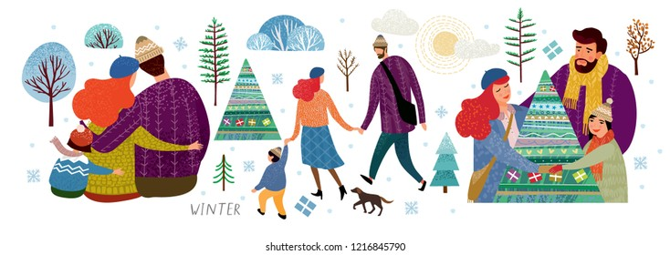 vector set of illustrations of a happy family in winter, mother, father and child on New Year and Christmas holidays, drawn people, trees, Christmas trees, bushes, dog