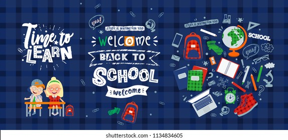 "vector set of illustrations on the theme ""back to school"": characters schoolchildren, poster, lettering and objects for school: backpack, globe, sneakers, microscope, textbooks, alarm clock, notepad,"