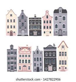 Vector set of illustrations with the streets of cozy European houses with vintage windows and doors.