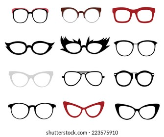 Vector set of illustrations of stylish and funny glasses