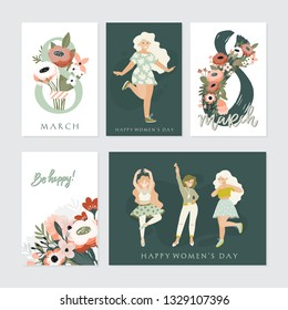Vector set of  illusttation. 8 march, International Women's Day. Vector template with lettering design, women and flowers.