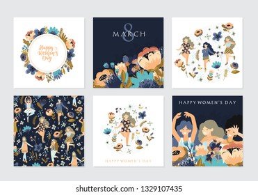 Vector set of illusttation. 8 march, International Women's Day. Vector template with lettering design, women and flowers