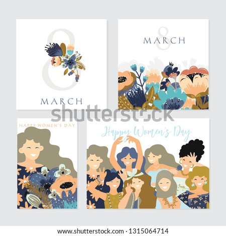 Vector set of  illusttation. 8 march, International Women's Day. Vector template with  women and flowers.