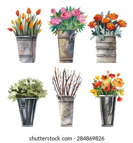 Vector set of images for the flower shop in watercolor style. Bouquets of flowers in pots, tulips, asters, hydrangeas and drtsgie. Watercolor flowers.