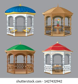Vector set of images of four decorative wooden beautiful gazebos for country holidays