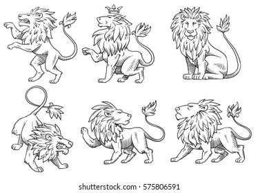 Vector set of images of heraldic lions with big manes in different poses on a white background. Coat of arms, heraldry, emblem, symbol. Made in monochrome style. Vector illustration.