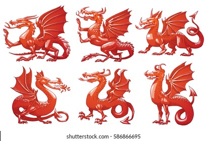 Vector set of images of heraldic red dragons in different poses on a white background. Coat of arms, heraldry, emblem, symbol. Color image. Vector illustration.