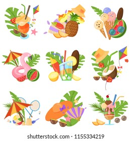 Vector set of images, objects that capture the spirit of summer, summertime: flamingo inflatables, ice cream, fruits, sunglasses, tropical leaves, cocktails. Design concept, summer colorful images