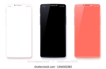 Vector set of imaginary mobile phones. White, black and coral pink devices. 3d realistic fashionable smartphone. Original design with a smoothly curved notch. Detailed mockup. Trendy concept. EPS 10