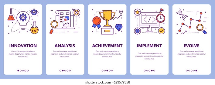 Vector set of improve concept vertical banners. Innovation, analysis, achievement, implement and evolve concept elements. Thin line flat design symbols, icons for website menu, print.