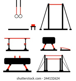 Vector set including objects related to gym equipment in flat design