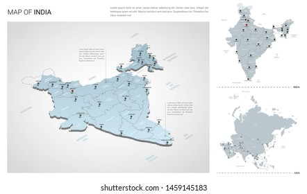 Vector set of India country.  Isometric 3d map, India map, Asia map - with region, state names and city names.