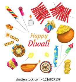 Vector set for Indian diwali festival on transparent background