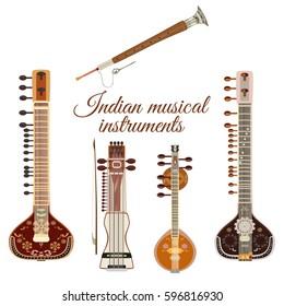 Vector set of indian musical instruments, flat style. Sarangi, sitar, saraswati veena and shehnai icons isolated on white background.
