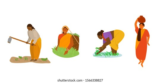 Vector set of Indian women working. Woman plowing, digging, tea picking, working in rice field, carrying big jug on head. Indian characters. Women profession. Traditional agriculture, manual labor.