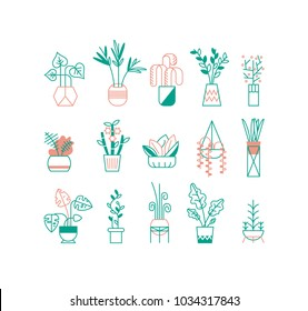 Vector Set of indoor plants. Trendy line style. Set of elements for design office, room or house.