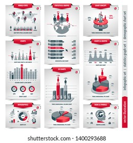 vector set of infographic elements containing population demographics design, business statistical line graphs with icons, 3d column, pie, shape bar and ring charts, isolated forms on white background