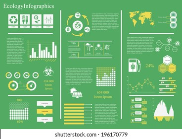 Vector set of infographic elements, including 27 icons, world map, 8 types of diagram diagram concerning to ecology,energy and sustainable development themes