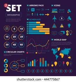 Vector set of infographics elements. Graphis, charts and thematic icons pack. illustration isolate on dark background