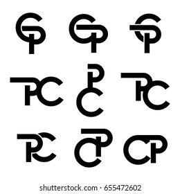vector set of initial letter cp, pc, p, c, logo black