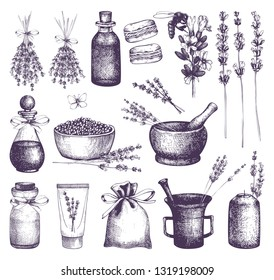 Vector set of ink hand drawn lavender illustration. Vintage collection of floral sketch isolated on white. Aromatic plants and cosmetic ingredients.