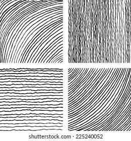 Vector set of ink hand drawn textures. Lines with different density and incline. Hatching drawn with pen. Abstract background. Vector design elements.
