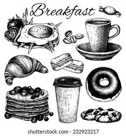 Vector set of ink hand drawn breakfast  food illustration isolated on white for restaurant or cafe menu.