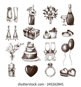 Vector set of ink hand drawn wedding illustration. Vintage wedding collection isolated on white