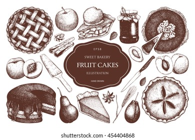 Vector set of ink hand drawn fruit desserts. Traditional cake, tart and pie sketch collection. Decorative harvest illustration. Sweet bakery. Top view.