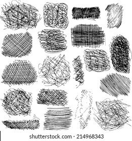 vector set of ink lines,  collection of hand drawn textures,  scribbles of pen, hatching, scratch