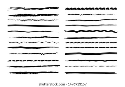 Vector set of ink pen drawing lines, hand drawn line borders, pen grunge brushes, freehand line stripe, scribble strokes. Underline brush isolated on white. Pencil textured doodle line for frames.