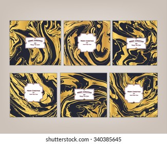 Vector set Ink texture watercolor hand drawn marbling illustration, abstract background, party invitations. Template for sail, wedding (save date), Christmas, envelope, valentine, card design